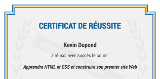 certificat developpeur
