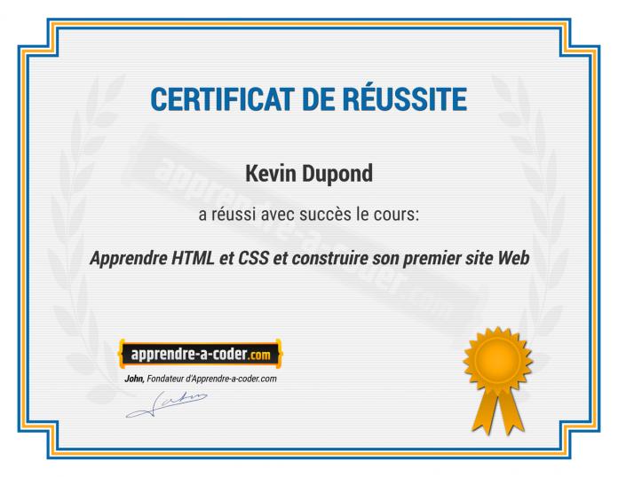 certificat developpeur